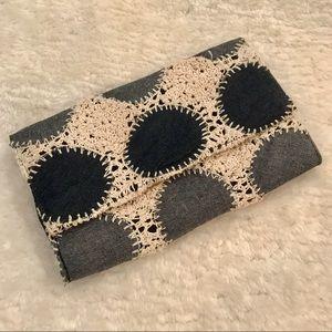 Love Stitch Denim & Crochet Boho Clutch